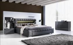 Ložnice CESAR Barevné provedení: šedý lesk, Šatní skříň: bez šat