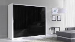 Šatní skříň 180 - bílá / černá lesklá
