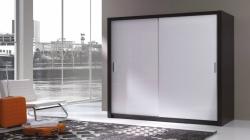 Šatní skříň 180 - wenge / bílá lesklá
